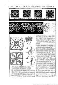 """Le Venise - Dentelle Reticella. Notre cours d'ouvrages de dames.  Les Dimanches de la femme : supplément de la """"Mode du jour""""  1923/04/01 (A2,N56)."""