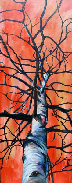 Branching Out, Original oil painting of an Aspen tree, 40 x 16 inches
