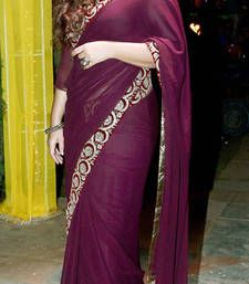 Buy Wine georgette saree with thread work  vidya-balan-saree online