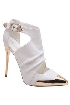 Chanel Gold Plate Heel Toe White Leather Booty shoes … - Women Dresses for Every Age! Hot Shoes, Crazy Shoes, Me Too Shoes, Pumps, Stilettos, High Heels, High Boots, Zapatos Shoes, Shoes Sandals