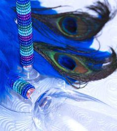 Peacock Wedding Crystal Toasting Flutes
