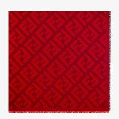 Red wool and cashmere shawl - FF SHAWL | Fendi Green Wool, Green Silk, Blue Wool, Pink Silk, Cashmere Shawl, Silk Shawl, Motif Design, Jacquard Weave