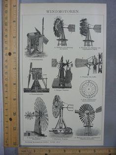 Rare Antique Original VTG Various Windmills Chart Illustration Art Print | eBay