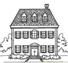 Printable Doll House Coloring Page