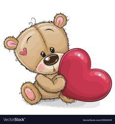 Cute Teddy Bear with heart. Cute Cartoon Teddy Bear with heart isolated on a white background stock illustration Teddy Bear With Heart, Baby Teddy Bear, Teddy Bear Baby Shower, Cute Teddy Bears, Teddy Bear Pictures, Bear Images, Baby Pictures, Cute Pictures, Tatty Teddy