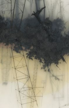 Layered Landscapes Made of Graphite, Tape, and Resin by Brooks Shane Salzwedel.