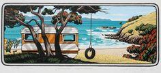 Caravan Window by Tony Ogle for Sale - New Zealand Art Prints Nz Art, Art For Art Sake, New Zealand Art, Kiwiana, Smart Art, Coastal Art, Simple Art, Beach Art, Landscape Art