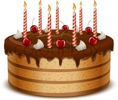 Vector of 'Birthday cake with candles isolated on white background vector illustration.' on Colourbox