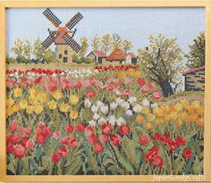 Japanese Cross Stitch Kit Modern, The Netherlands Landscape, Masano Onoe, Embroidery DIY Kit Tutorial, Hand Embroidery Flower Design, JapanLovelyCrafts