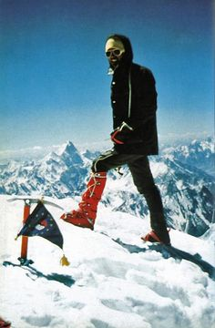 Reinhold Messner and Peter Habeler climbed Gasherbrum I (Hidden Peak) on August 10, 1975 via the difficult North Face without oxygen, fixed ropes, high camps or high-altitude porters. This was the smallest team to succeed on an 8000m peak and was the birth of Alpine Style mountaineering in the Himalaya.
