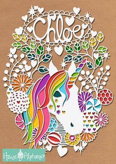 Rainbow Unicorn Floral Wreath Personal Use by HouseOfAlphonse