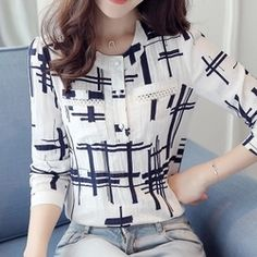 Womens Elegant Striped Plus Size Blouse Cotton Shirt Office Work Formal Smart Kurta Designs Women, Cotton Blouses, Women's Blouses, Designs For Dresses, Formal Shirts, Plus Size Blouses, Chiffon Tops, Chiffon Fabric, Blouses For Women