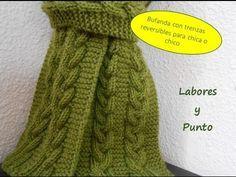 Como tejer una bufanda para hombre o mujer con trenza triple reversible en dos agujas - YouTube