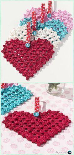 Crochet Granny Heart Free Pattern - Crochet Heart Applique Free Patterns