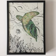 Turtle colored pencil drawing combined with Zentangle art