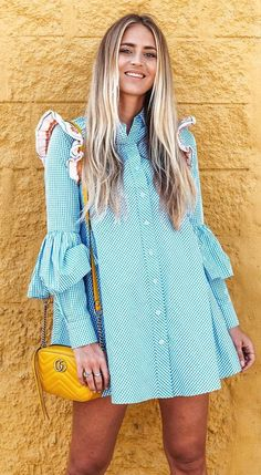 trendy outfit idea : blue dress and yellow bag