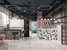 "DE&DE/Beauty salon ""Tricky mechanics"" on Behance sal.- DE&DE/Beauty salon ""Tricky mechanics"" on Behance salon - Nail Salon Design, Nail Salon Decor, Hair Salon Interior, Beauty Salon Decor, Beauty Salon Design, Beauty Studio, Beauty Art, Beauty Makeup, Interior Design Pictures"