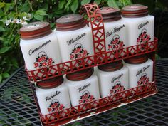 """Vintage 1940s Milkglass Tipp City Spice Set in by thecherrychic & mid century """"Chef"""" spice rack  http://www.pinterest.com/pin/452189618808151317/"""