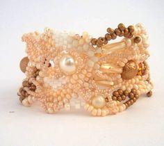 Beaded jewelryCream Beige Golden White Freeform peyote by ibics