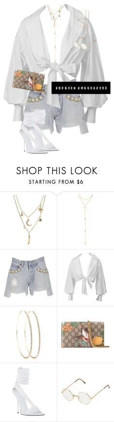 """""""Stroll Through NYC"""" by junkiescollective ❤ liked on Polyvore featuring Charlotte Russe, Fragments, Forte Couture, Montana, Gucci, Versace and Persol"""