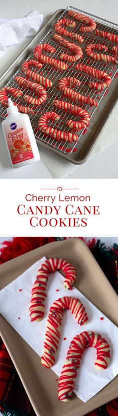 These Cherry Lemon Candy Cane Cookies are a lightly sweetened, lemon shortbread cookie studded with dried cherries. They're an easy-to-make, fun-to-eat Christmas cookie with a sandy, melt in your mouth texture.