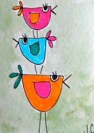 bird art for preschool | Bird Art Preschool 2012 Instructional drawing of simple birds
