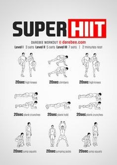 Super HIIT workout is a workout for those willing to take things to the next level. Hiit Workouts For Men, Hitt Workout, Plyometric Workout, Cardio At Home, Short Workouts, Hiit Workout At Home, Cardio Workout At Home, Calisthenics Workout, Gym Workout Tips