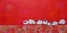 """Feeling Sheepish III"" mixed media painting by Casey Craig"