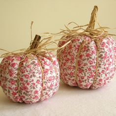 shabby chic fabric pumpkins set of 2 shipping by persnicketyworks