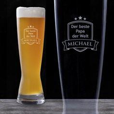 Dein Papa gönnt sich zum Feierabend auch noch ganz gern ein gutes Weizen? Das Weizenglas mit Gravur macht ihm sein Bier noch bekömmlicher. via: www.monsterzeug.de