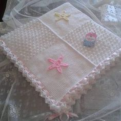 Tunus işi örgü bebek battaniyesi