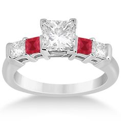 5 Stone Princess Diamond & Ruby Engagement Ring Platinum 0.46ct, Women's, Size: 7.75, Silver