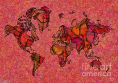World Map Takkede In Red And Orange by elevencorners. World map wall print decor. #elevencorners #maptakkede
