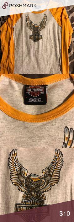 HARLEY DAVIDSON LONG SLEEVE BASEBALL T SHIRT HARLEY DAVIDSON LONG SLEEVE T SHIRTGreat condition, worn 1-2 times, No spots, No Stains, I lovemy shirts, but they don't fit any more Harley-Davidson Tops Tees - Long Sleeve