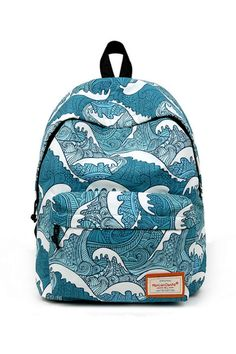 Harajuku Sea Waves Prints Backpack