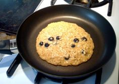 Single Serving Oatmeal Pancake: 1/4 cup instant oatmeal, 2 egg whites, 1/2 banana mashed, add cinnamon, blueberries, raisins, nuts, whatever you want - fry like a pancake!