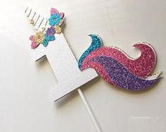 New!! Unicorn Numeral Topper with Flowers