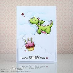 A birthday card with one of the cute @mftstamps ' dragons. For my design I followed the sketch for MFT's current Wednesday challenge. All images are colored with Copics. #stamps #stamping #card #cardmaking #birthdaycard #mftstamps #copics #copiccoloring #distressink #dragon #cupcake #stempel #stempeln #karte #kartendesign #geburtstagskarte #drache