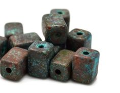 10 Mykonos Patina Ceramic Beads  8mm Rectangle  by createyourbliss, $8.35
