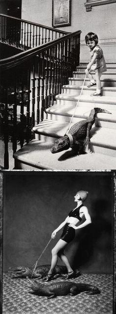 INSPIRATION >>> John DRYSDALE :: Walking my crocodile, 1960's [top] Vee SPEERS :: Walking the Croc from Parisians series [bottom]