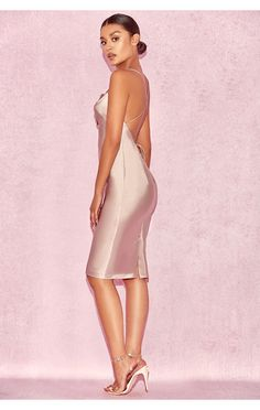 d77598328ee Clothing   Bodycon Dresses    Alette  Champagne Satin Cowl Back Dress