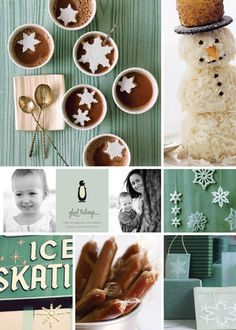 Minted holiday card inspiration board- good tidings for all with this glad tidings board- icy blue snowflakes and snowman and yummy hot cocoa!