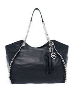 "Michael Kors  	  MICHAEL Michael Kors Chelsea Large Shoulder Tote    Black vegetable-dyed leather.  Silver-color hardware.  Chain top handles.  Hanging MK logo chained circle charm and tonal leather tassel.  Slouchy body with interwoven chain trim.  10""H x 15""W x 4""D.  Imported.  Store Style Number: 30F2SCSE3L"
