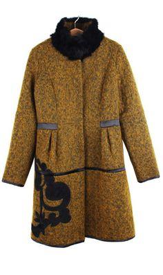 Rex rabbit wool embroidered woolen coat 110260