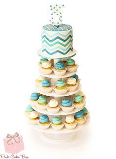 Chevron Birthday Cupcake Tower by Pink Cake Box