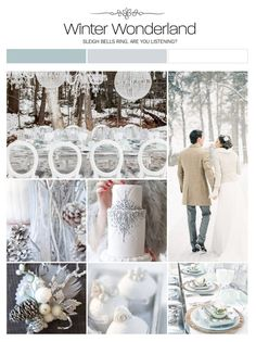Winter wonderland wedding inspiration board, color palette, mood board via Weddings Illustrated