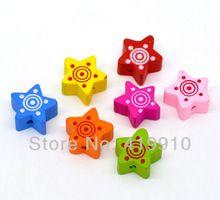 Shipping-100 piezas de mezcla Multicolor lindo cuentas de madera estrella 15 x 15 mm M00736(China (Mainland))