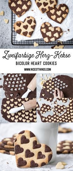 awesome Zweifarbige Herz Kekse Rezept, Bicolor Heart Cookies Read More by nat.- awesome Zweifarbige Herz Kekse Rezept, Bicolor Heart Cookies Read More by nataschasndersk - Cookies Et Biscuits, Sugar Cookies, Baking Cookies, Chocolate Chip Cookies, Cookies Receta, Cookie Recipes, Dessert Recipes, Brownie Recipes, Cupcake Recipes
