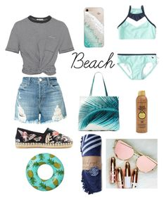 """""""Let's go to the beach 🌴🌊"""" by dolcejaquelin ❤ liked on Polyvore featuring Abercrombie & Fitch, J Brand, T By Alexander Wang, Valentino, Gray Malin, Sun Bum and Amuse Society"""