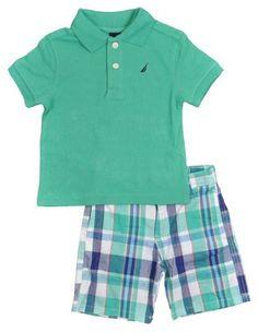 LOOOOVE plaid shorts on little boys! Boys Summer Outfits, Little Boy Outfits, Toddler Outfits, Baby Boy Outfits, Kids Outfits, Summer Boy, Baby Boy Clothing Sets, Newborn Boy Clothes, Trendy Baby Clothes